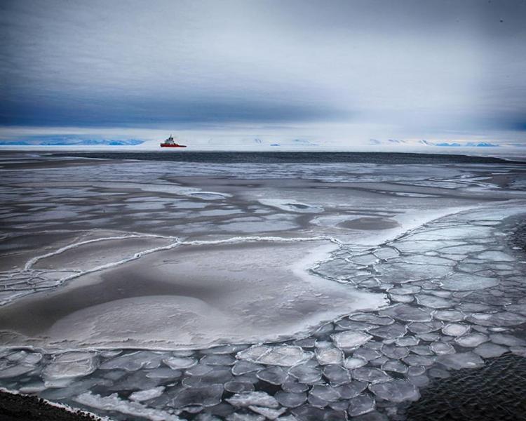 icebreaker and beautiful ice