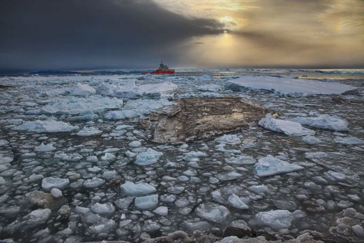 storm brewing behind icebreaker
