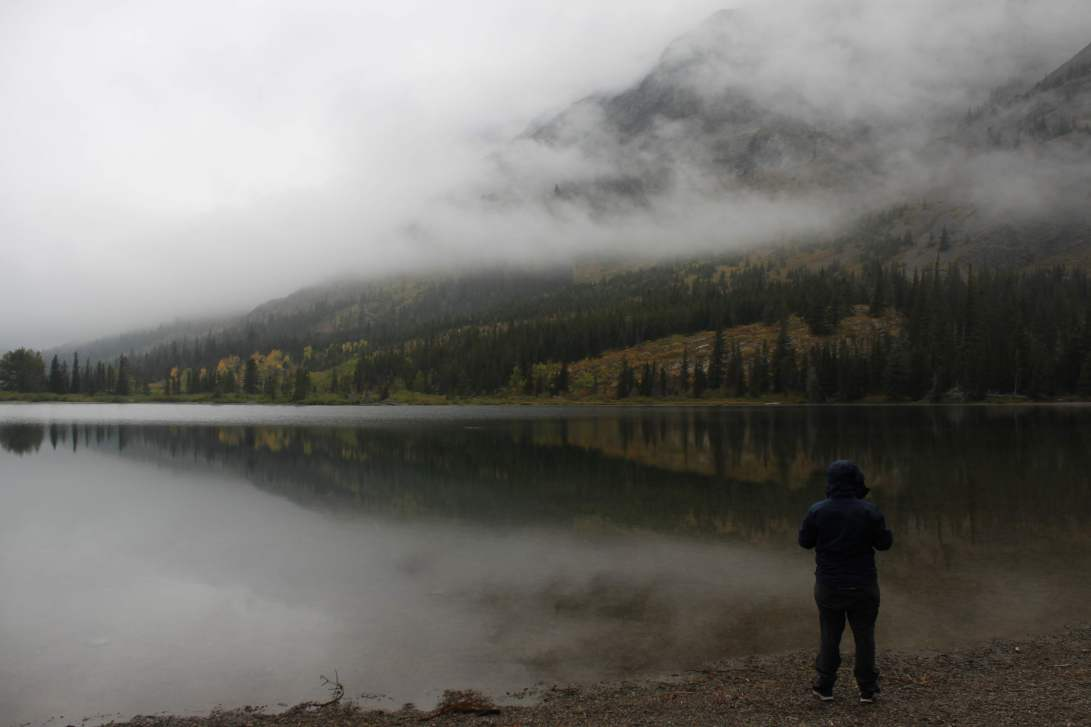 person looking at a misty lake